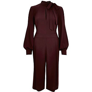 Dark red bow cropped turtle neck jumpsuit