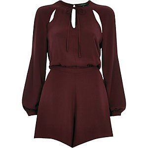 Maroon smart cut out playsuit