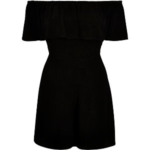 Black woven bardot playsuit