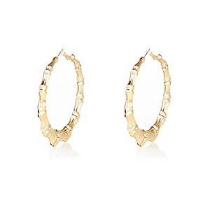 Gold tone bamboo creole hoop earrings