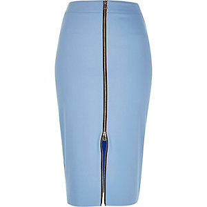 Blue zip front pencil skirt