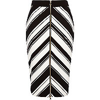 Black stripe chevron print pencil skirt