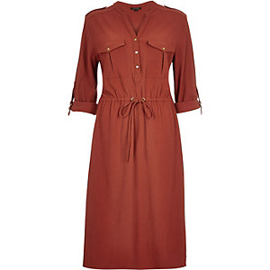 Rust brown waisted shirt dress
