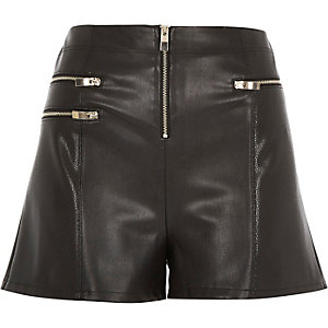 Black leather-look zip shorts