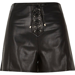 Black lace-up leather-look shorts