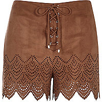 Brown faux-suede laser cut shorts
