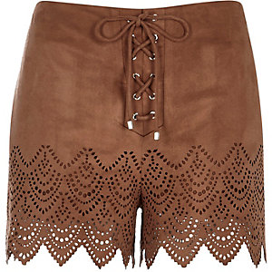 Brown faux-suede laser cut shorts