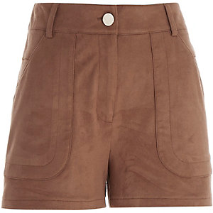 Tan brown faux-suede shorts