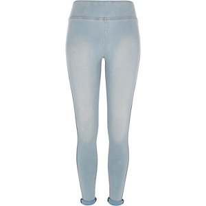 Light wash denim high waisted leggings