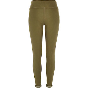 Khaki denim high waisted leggings