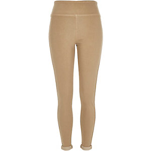 Beige denim high waisted leggings