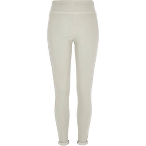 Light grey denim high waisted leggings