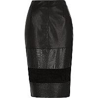 Black blocked leather-look pencil skirt