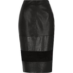 Black blocked leather-look pencil skirt