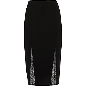 Black lace inset pencil skirt