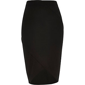 Black ribbed wrap pencil skirt
