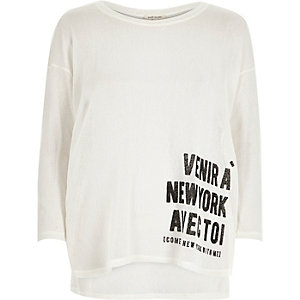 White New York print slouchy top