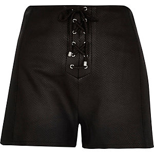 Black leather-look lace up shorts