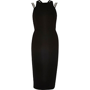 Black embellished strap bodycon dress
