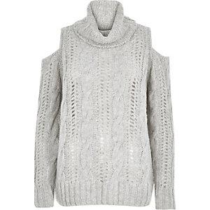 Grey knitted cold shoulder jumper
