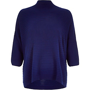 Blue textured ribbed high neck jumper