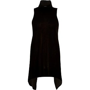 Black high neck split back jumper