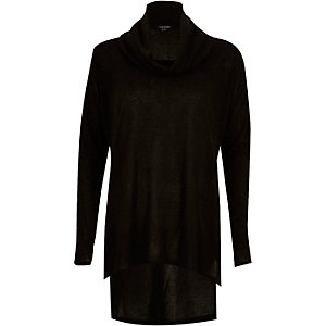 Black cowl neck side split jumper