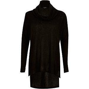 Black cowl neck side split jumper