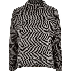 Black chevron turtle neck jumper