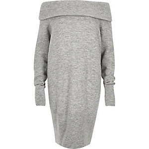 Grey slouchy knitted bardot dress