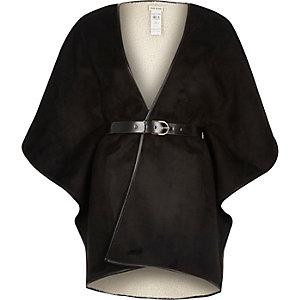 Black belted shearling jacket