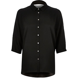 Black lace up back longline shirt