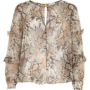Beige snake print frilly long sleeve blouse