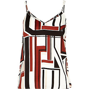 Red graphic stripe V-neck cami