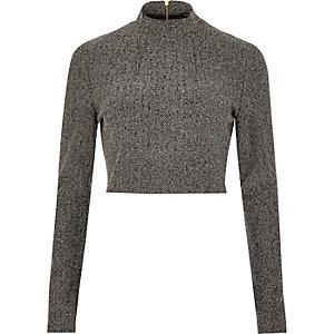 Dark grey woven crop top