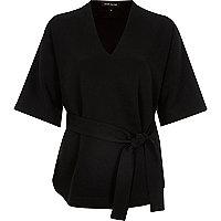 Black short sleeve belted top