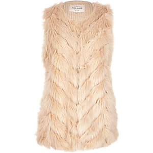 Cream faux fur knitted back vest