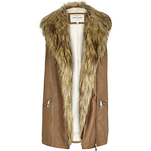 Brown leather-look faux fur trim gilet