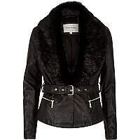 Black leather-look faux-fur collar jacket