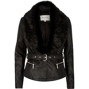 Black leather-look faux-fur collar jacket