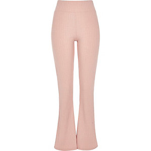 Pink ribbed flare leggings