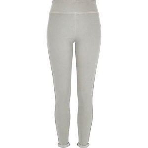 Grey denim high waisted leggings