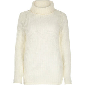 Cream knitted cowl neck jumper