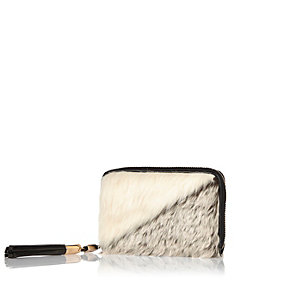 Cream faux fur zip purse