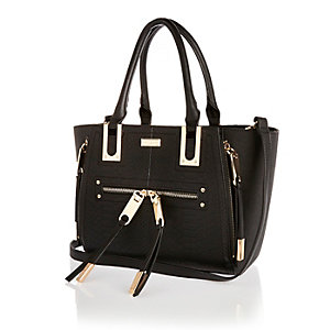 Black mini winged tote handbag