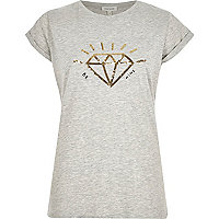Grey sequin diamond fitted t-shirt