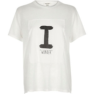 White slogan print swing t-shirt