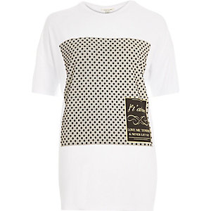 Cream French slogan print oversized t-shirt
