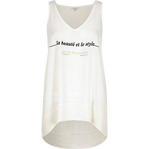 Cream Paris slogan print ribbed hem vest