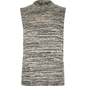 Grey marl sleeveless tank top